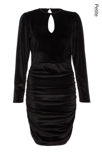Petite Black Velvet Keyhole Bodycon Dress